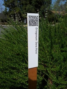 One of the tour signs, with a QR code at the top that leads you to a page with information about the plant